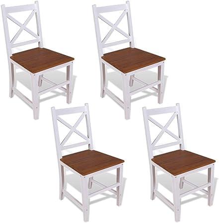 Tidyard Lot de 4 Chaises de Salle à Manger en Bois de Teck