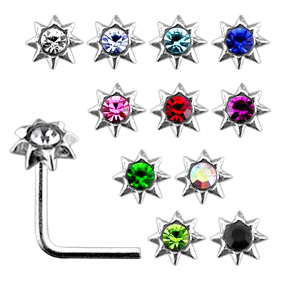 20 Pieces Box Set of Jeweled Sun Top Sterling Silver L Bend Nose Stud Jewelry