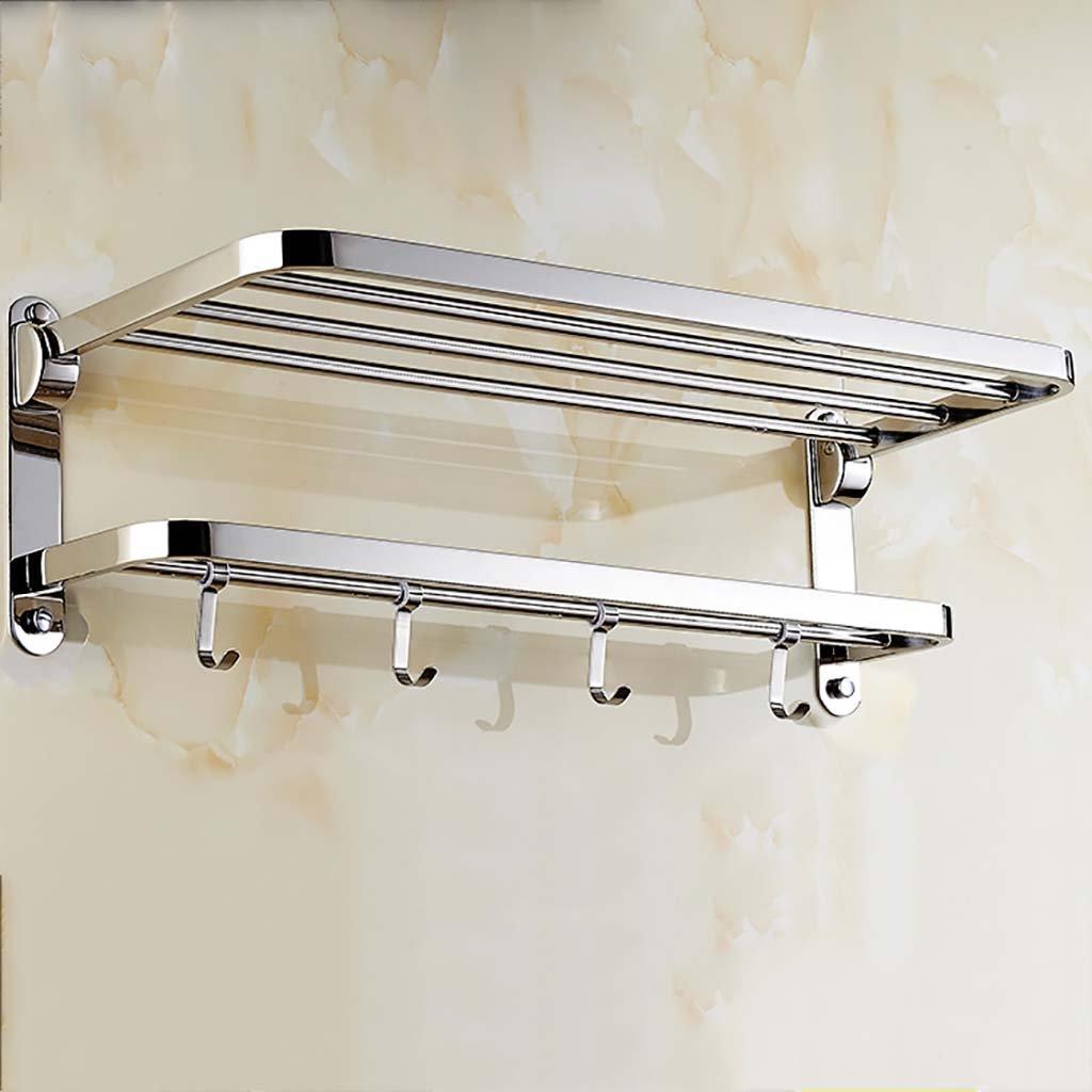 タオル掛け タオルラックパンチング304ステンレススチールダブル2層バスルーム棚ペンダント タオルスタンド (サイズ さいず : 60 cm 60 cm) B07DWVJ8B560 cm 60 cm