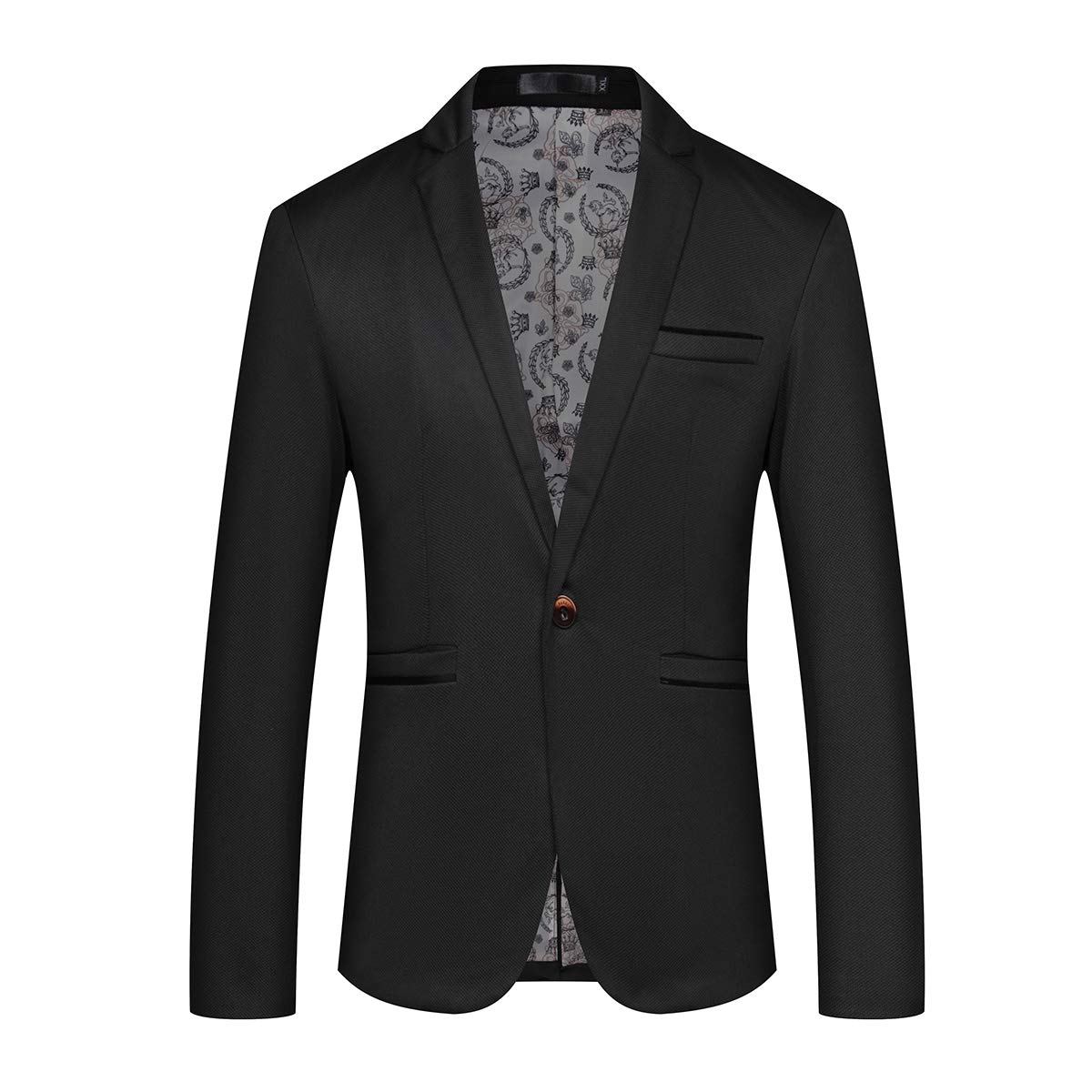 Mens Slim Fit Sport Coat Casual One Button Solid Color Jacket Blazer Black by YFFUSHI