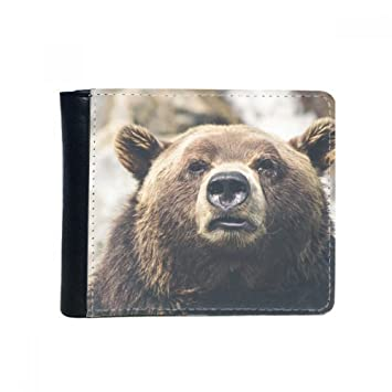 2728dea06d6ced Clothes, Shoes & Accessories Wallets Bear Leather Mens Bi Fold Wallet BLACK  or Brown wildlife Gift