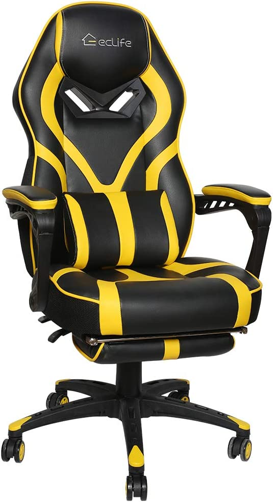 Office Chair Video Game Chair,Gaming Chair Racing Style,High Back PU Leather PC Racing Computer Desk Office Swivel Recliner with Retractable Footrest and Adjustable Lumbar Cushion Support (Yellow)