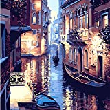 Yiping Brand New and Canvas Oil Picture 40X50CM Frameless The Water World of Venice Canvas Linen Canvas Oil Painting DIY Paint by Numbers