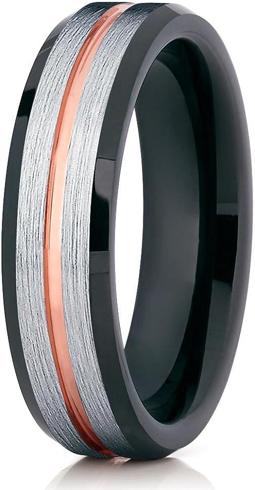 Silly Kings Black Tungsten Wedding Ring,6mm Tungsten Ring,Rose Gold Tungsten Ring,Men & Women