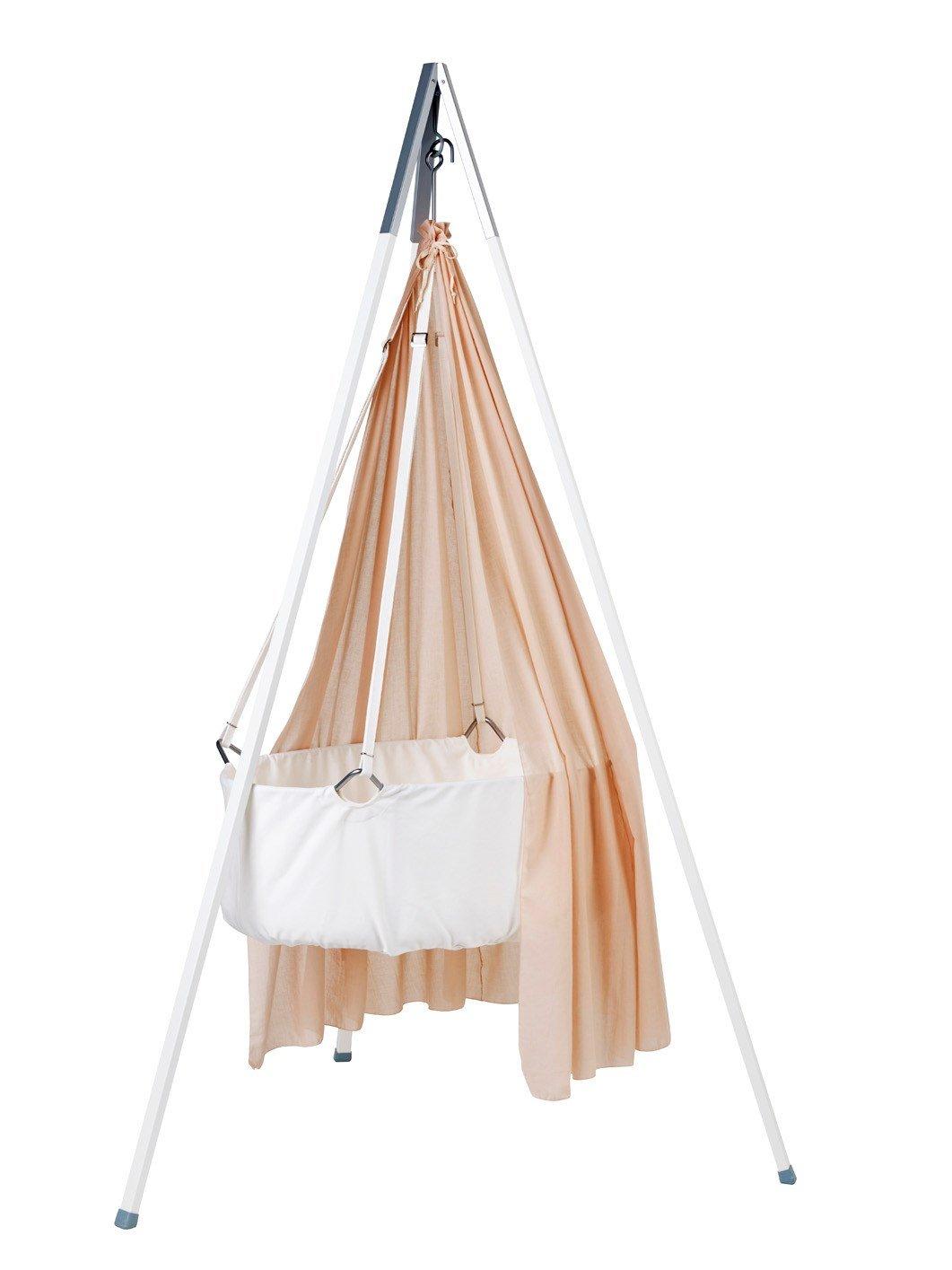 Leander Wiege - Babywiege weiß inkl. Matratze und Deckenhaken - mit Himmel (Schleier) soft pink + Stativ weiß