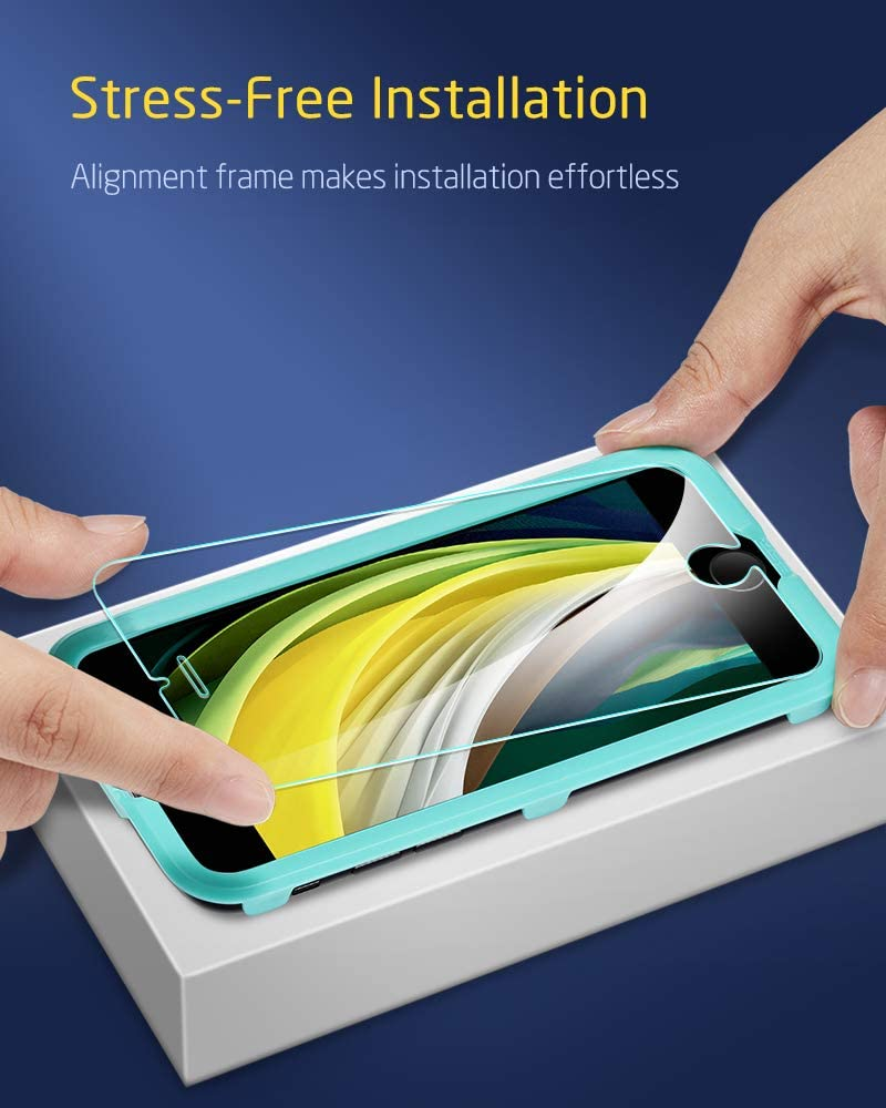 Easy Installation Frame Resist Up to 22 Pounds 2 Pack Scratch, Fingerprints /& Oil Resistant iPhone 8//7 Screen Protector ESR iPhone 8 Tempered Glass Screen Protector for Apple iPhone 6//6s//7//8//SE 2020 4.7 inch iPhone SE 2020 Screen Protector