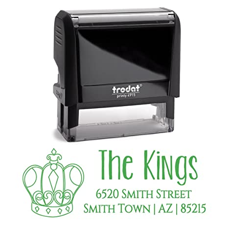 green ink queens crown kings crown family custom personalized self inking return mail