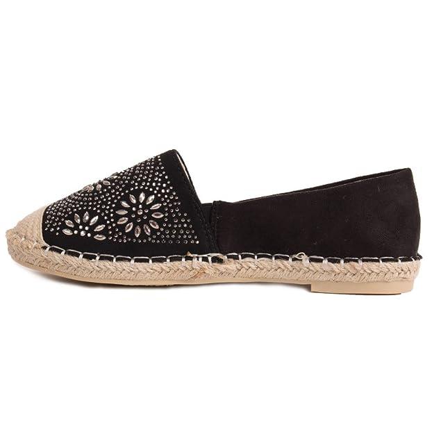 51c52d81f28f3 Espadrilles Femme Strass Semelle Corde Simili Daim pailletée-  Amazon.fr   Chaussures et Sacs