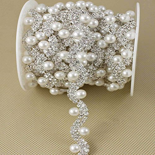 Pearl Trim (De.De. 1 Yard Shining White Luxury Fake-pearl Rhinestone Trim Crystal Applique Bridal Dress Chain)