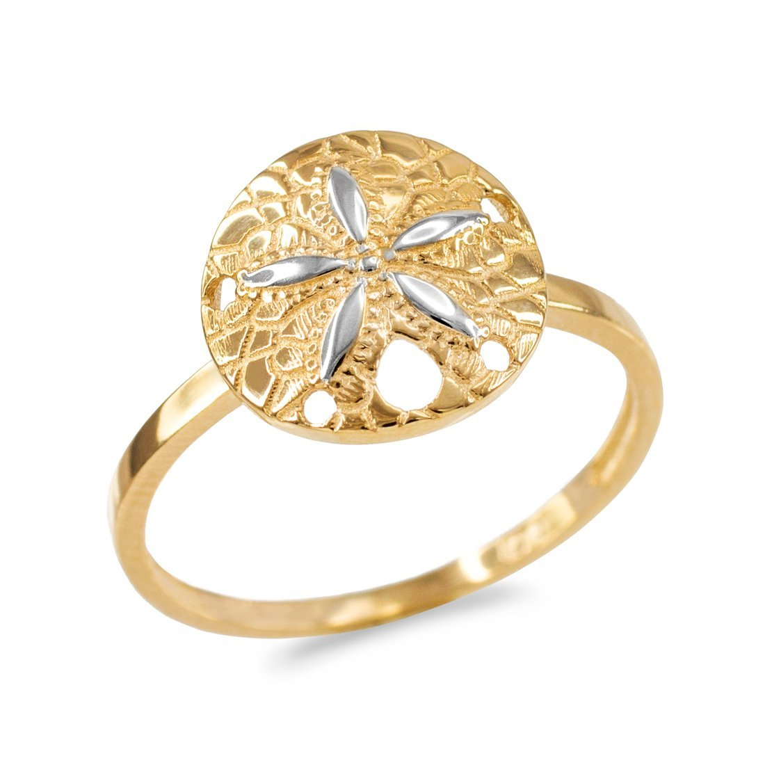Dainty 10k Two-Tone Gold Sand Dollar Ladies Ring (Size 5.5)
