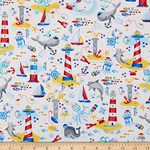 Timeless Treasures Whale Hello Nautical Scenic White Fabric by the Yard ()