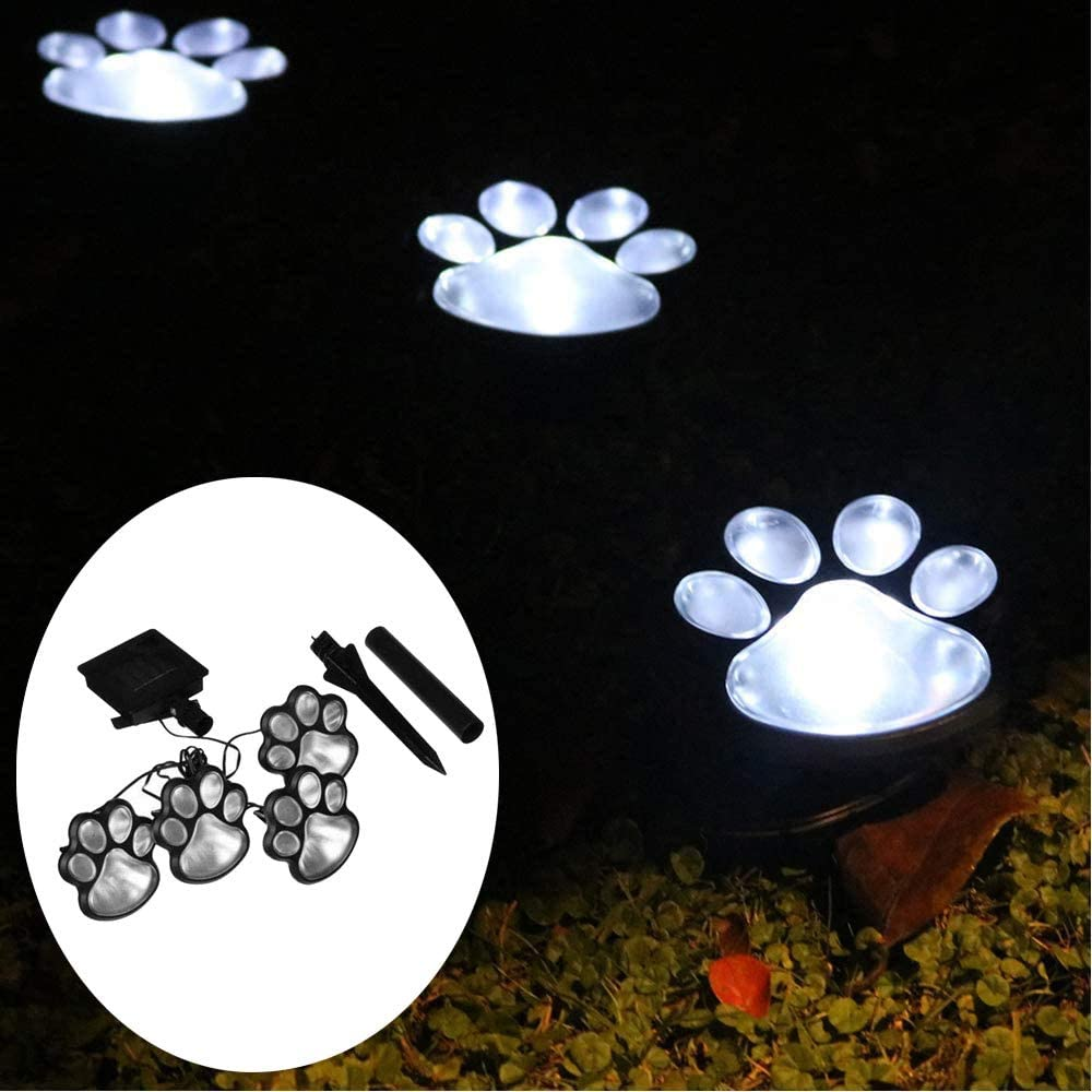 Solar Paw Print Lights Outdoor Yard Dog Decorative Solar Light for Garden Patio Walkway Decor-Gift for Animal Pet Cat Lover