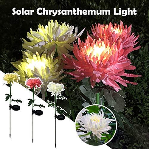 bestheart Solar Lights Outdoor Decorative,3Pcs Chrysanthemum Solar Garden Lights,Beautiful Waterproof Solar Flower Lights for Flowerbed Yard Decorative,Powered Landscape Lighting (A)
