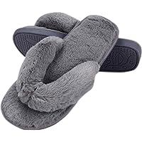 77Fine Womens Faux Fur Slippers Warm Fussy Flip Flop House Slippers Open Toe Home Slippers for Girls Men