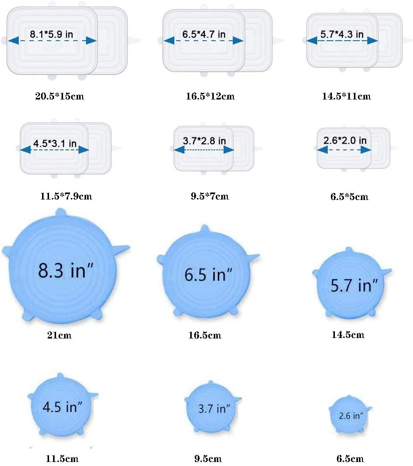 Extensible Silicone Lids Adapt/és aux Bol etc. 18 pcs Couvercles Alimentaire Silicone Couvercles Silicone Extensibles Ronde Bleu, Rectangle Blanc