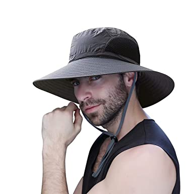 WINDCHASER Mens Sun Hat Summer Wide Brimmed Women Bucket Hat UV Protection Bush  Hat Foldable Safari 683d6c6a6867