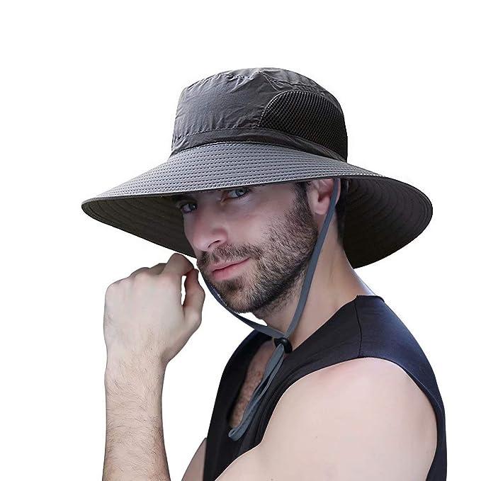 c08f8b80f3d55 WINDCHASER Mens Sun Hat Summer Wide Brimmed Women Bucket Hat UV Protection  Bush Hat Foldable Safari