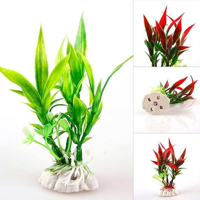 LNIMIKIY - Planta acuática para decoración de peceras - Plantas acuáticas Artificiales Grandes de plástico para decoración de peceras: Amazon.es: Productos ...