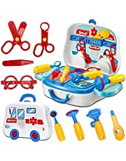 deAO Mini Carry Case with Wheels for Toddlers Portable Role Play Set with Accessories Included Doctor or Working Tools (Tool Work Bench)