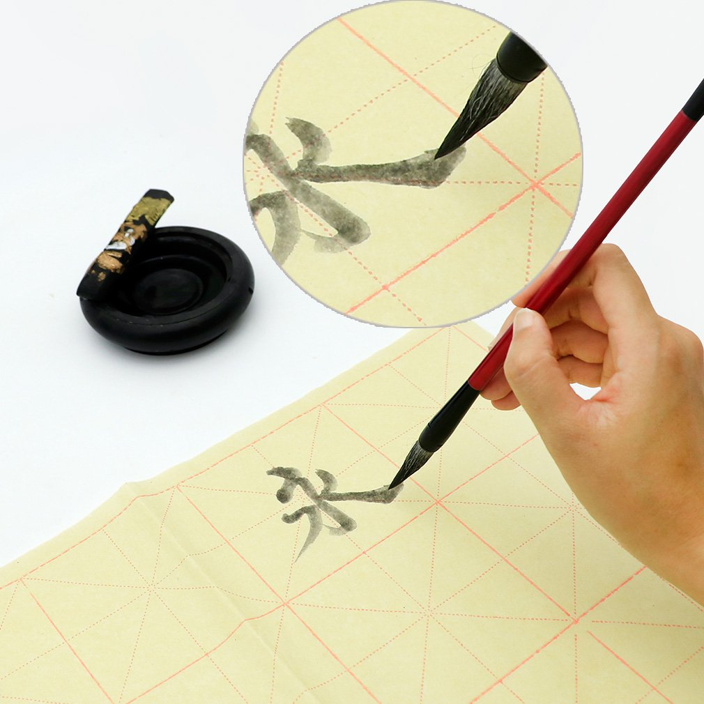 Teagas Chinese Calligraphy Brush Ink Writing Grid Sumi Paper//Xuan Paper//Rice Paper for Chinese Calligraphy Brush Writing Sumi Set
