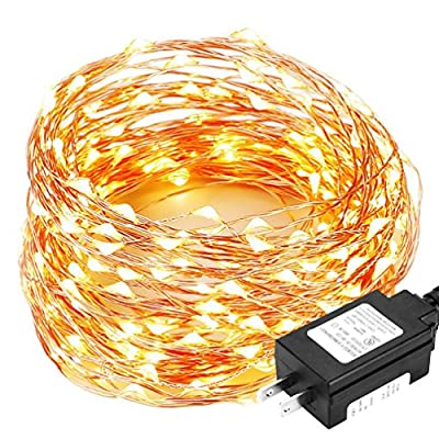 Decute 66 Feet 200 LEDs Copper Wire Christmas String Lights Dimmable with Remote Control, Fairy Lights with UL Listed for Party Wedding Bedroom Christmas Tree, Warm White