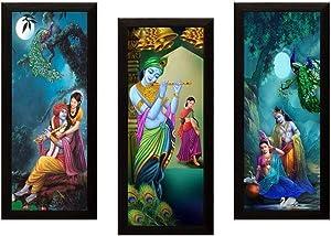 NOBILITY Radha Krishna Modern Wall Art Set of 03 Framed Painting 42 cm x 60 cm x 3 cm