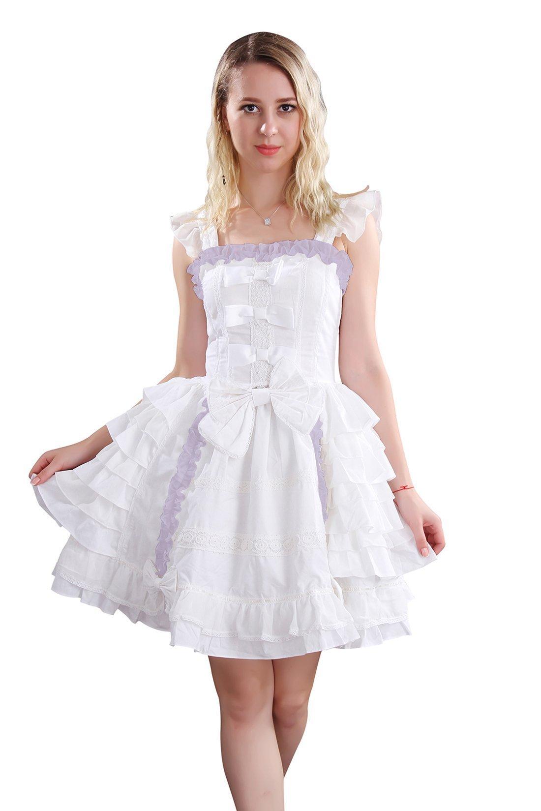 Nuoqi Court Lolita Dress White Lace Cosplay Princess Dress L Size CC220H-L