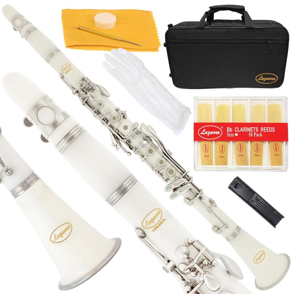 150-PK-L - PINK/SILVER Keys Bb B flat Clarinet Lazarro+11 Reeds, Case, Care Kit~24 COLORS Available, CLICK on LISTING to SEE All Colors