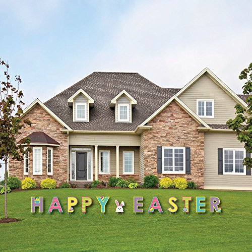 (Big Dot of Happiness Hippity Hoppity - Yard Sign Outdoor Lawn Decorations Easter Bunny Party Yard Signs - Happy Easter)