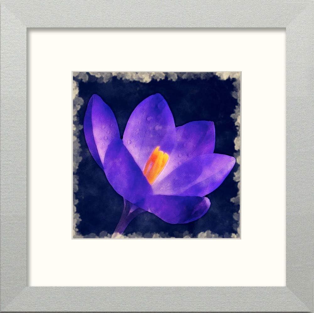 L Lumartos - Cuadro Decorativo para Pared, diseño de Flores moradas, Color Plateado Mate, 20,3 x 20,3 cm