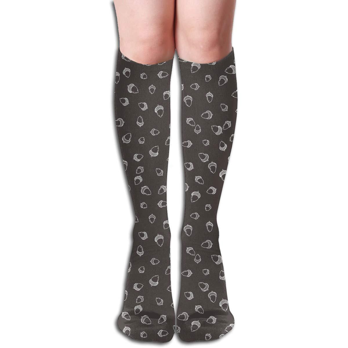 Womens Cotton High Sock Stylish Fallen Autumn Acorns Pattern Thigh High Socks For Women