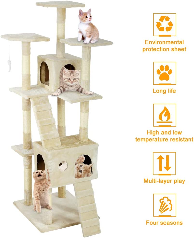 R/E 73 inch cat Tree cat Tower Game House sisal Scratching Column Double Plush Apartment Theater, with Bed Nest Perch Platform Dangling Toys Cats Activity Centre for Kittens, Beige