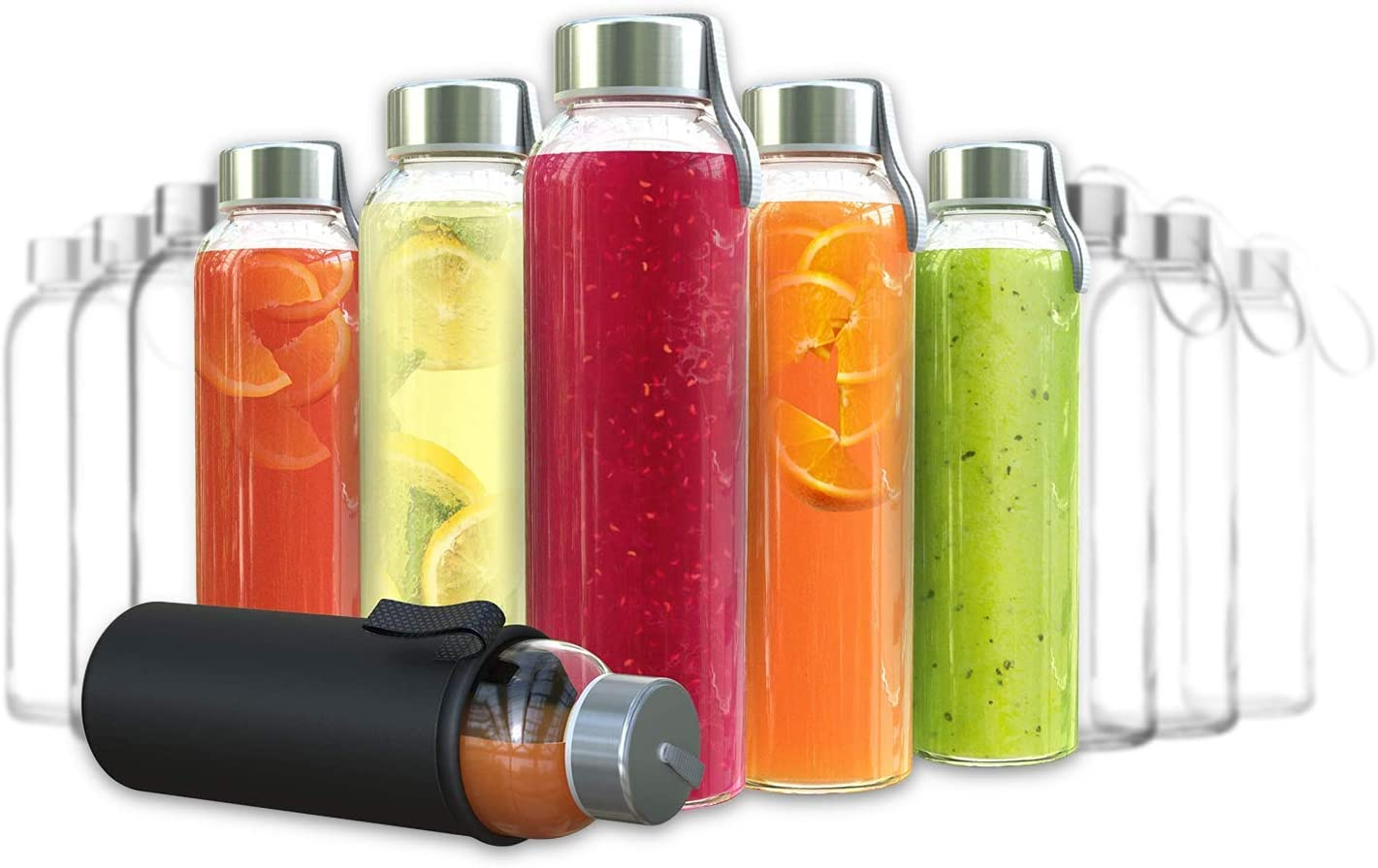 Chef's Star Glass Water Bottles - 12 Pack of Glass Bottles with Caps - 18 oz Juice Bottles- Protection Sleeve Included - Featuring Stainless Steel Leak-Proof Lids with Carrying Strap
