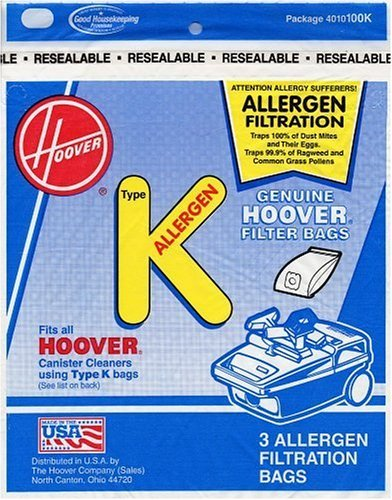 Hoover Type K Allergen Bag (6-Pack), 4010100K (Type K Vacuum Cleaner Bags)