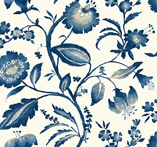 (York Wallcoverings AT7021 Tropics Watercolor Jacobean Wallpaper, White/Light to Dark Blue/White/Beige)