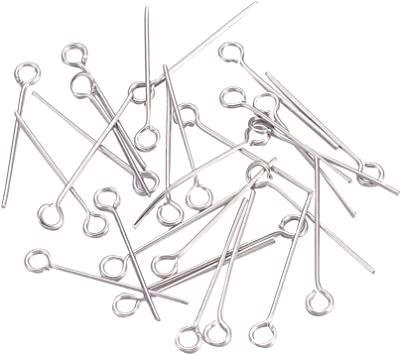 UNICRAFTALE 1000pcs Stainless Steel Eye Pins Silver Tones Head Pins Findings 2mm Hole Open Eye Pins for Jewelry Making 25x0.8mm