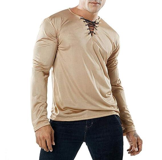 7d2ca3e43e34 Hellomiko Männer Casual V-Ausschnitt Krawatte Shirt Komfortable Translucent  Mesh Langarm-Home-Service  Amazon.de  Bekleidung