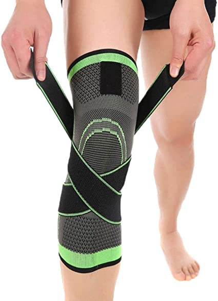 UsHigh Knee Brace Support Compression Sleeve with Side Stabilizers High Elastic Fabric for Men Women Arthritis Running Meniscus Tear Cross-Fit Joint Pain Relief Injury Recovery