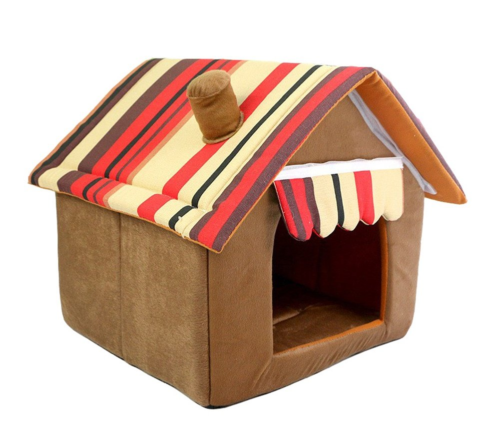 WowowMeow Pet Foldable Stripe Cat Dog House Bed Cozy Plush Pet Cave Bed for Puppies, Cats and Small Animals (L, Brown)