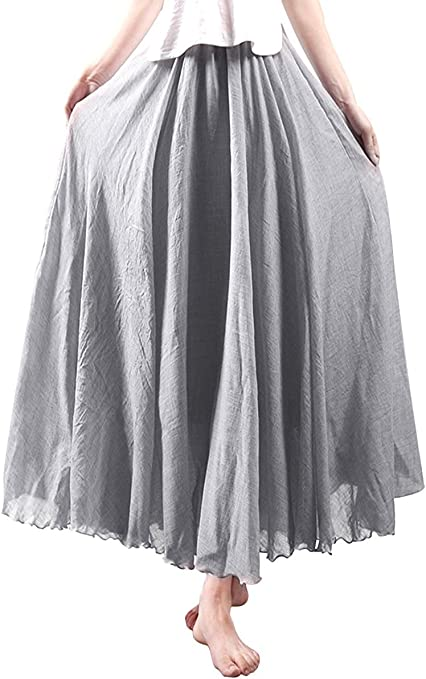 Jellbaby - Falda de algodón y Lino de Estilo étnico con Faldas y Faldas de Color sólido, Gris Claro, 85 cm: Amazon.es: Hogar