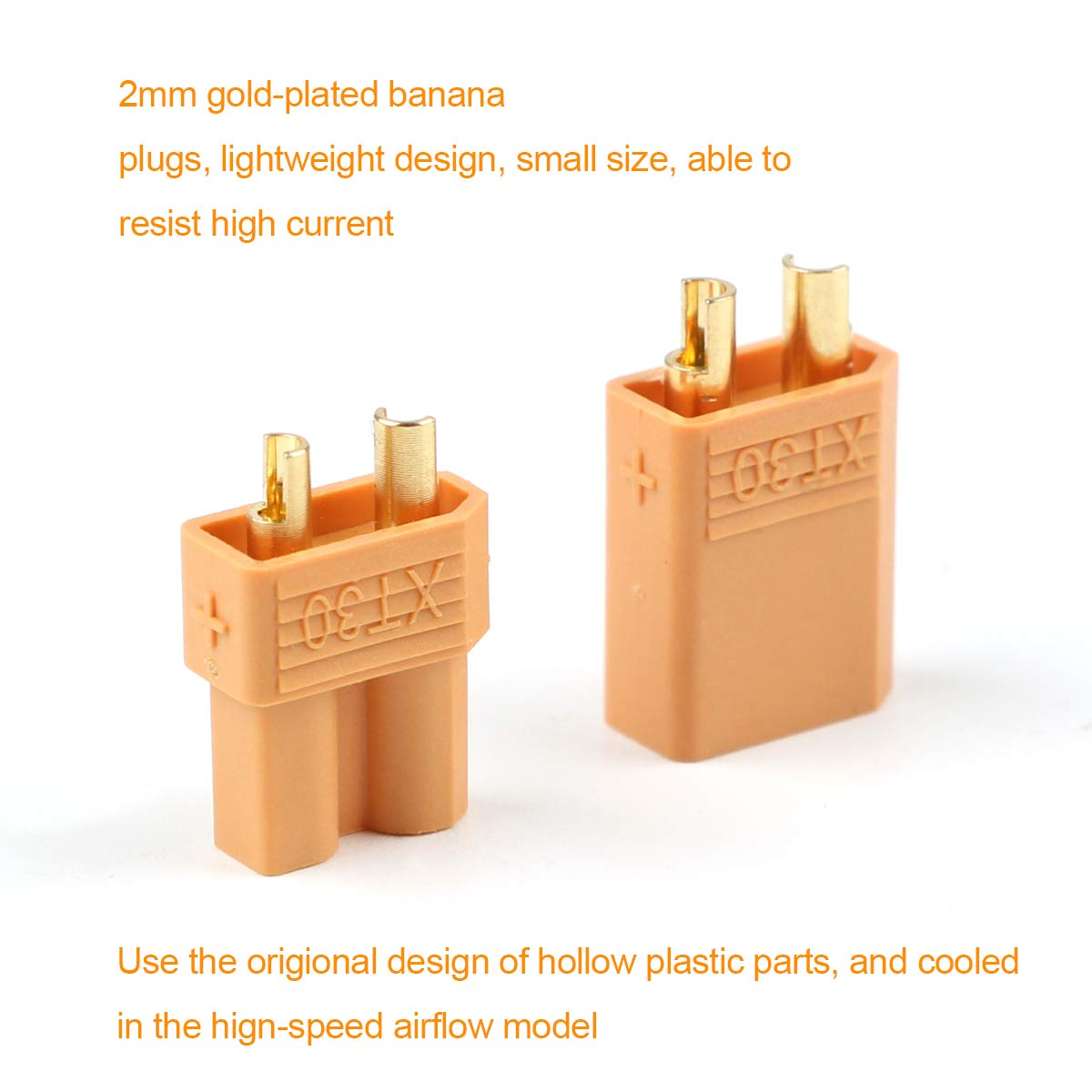 2 pairs XT90 battery connector set 4.5mm male gold plated banana plugZJP