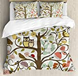 Animals Duvet Cover Set Queen Size by Ambesonne, Retro Style Tree with Flowers Bugs and Bees Owl Birds Insects Vintage, Decorative 3 Piece Bedding Set with 2 Pillow Shams, Almond Green Eggshell