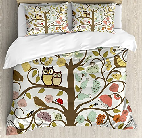 Ambesonne Animals Duvet Cover Set Queen Size, Retro Style Tree with Flowers Bugs and Bees Owl Birds Insects Vintage, Decorative 3 Piece Bedding Set with 2 Pillow Shams, Almond Green Eggshell