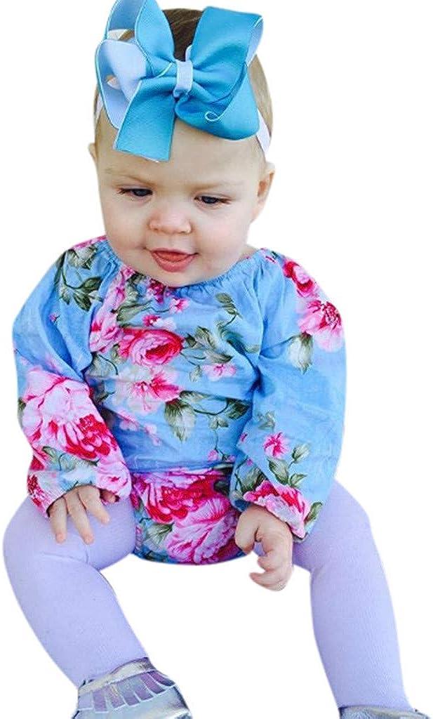 Sameno Fashion Newborn Infant Baby Girl Boy Floral Romper Bodysuit Headband Clothes Set