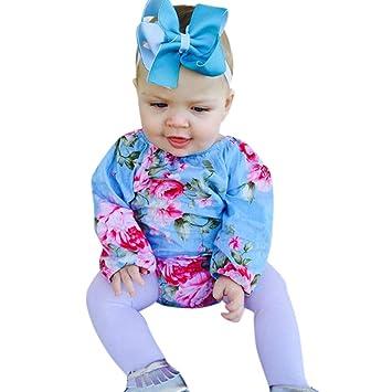 ecad58b56613 Amazon.com : NUWFOR Newborn Infant Baby Girl Boy Floral Romper Bodysuit  Headband Clothes Set(Blue, 12-18 Months) : Beauty