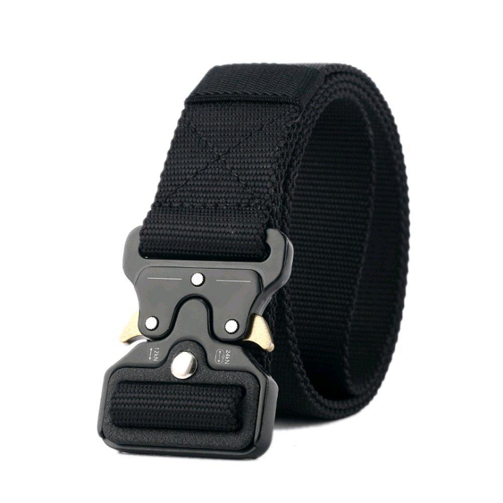 Men's Military Tactical Belt Heavy Duty Webbing Belt with Quick-Release Metal Buckle (Black)