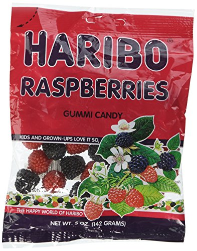 Haribo Gummi Raspberries 5 oz Bag Candy Gummy