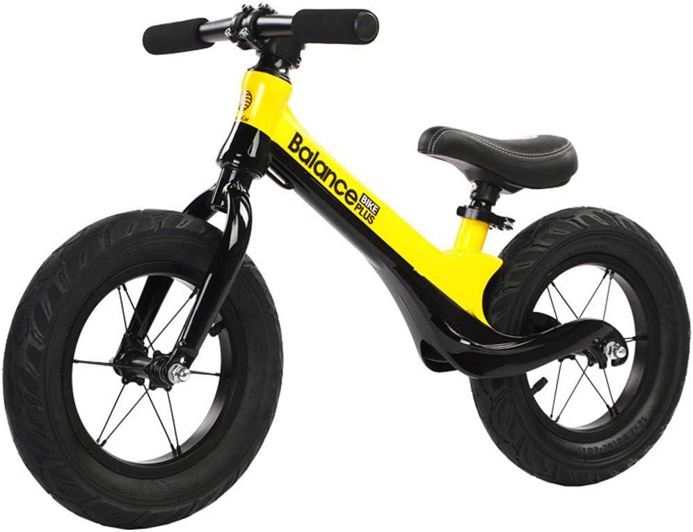Niños bicicleta de equilibrio, peso ligero sin pedal de niños Walking Bicicleta con cuadro de carbono de acero, ajustable manillar y el asiento para niños y niñas, Planeador bici del empuje,Amarillo