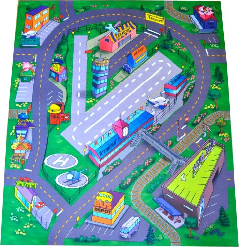 Airport Playmat - Airport Felt Play Mat with Roads and Train Track Design