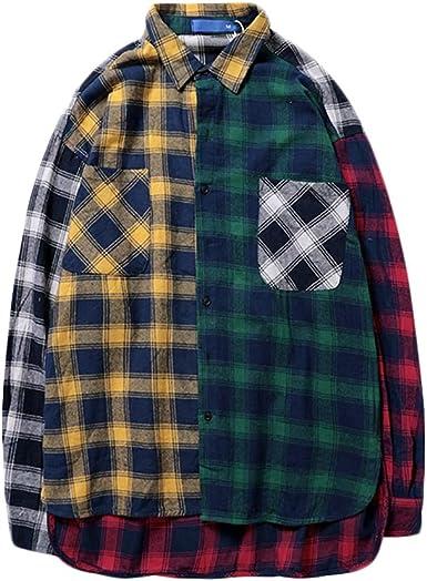 Irypulse Camisa de Cuadros para Hombre Camisas Casuales de Manga Larga Tops de Streetwear Loose Fit Falso Dos Piezas Hip Hop Personalidad Moda para ...